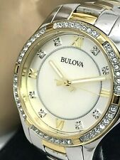 Bulova Ladies Crystal Mother of Pearl Dial Two Tone Stainless Steel Watch 98L255