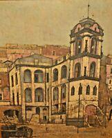 JOHN LENTINE Original Vintage Signed Architectural Gaeta Cityscape Oil Painting