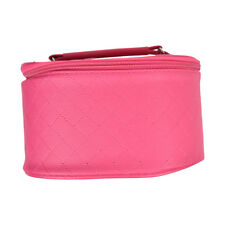 Large Quilted Travel Cosmetic Case Makeup Round Case Bag Organizer Handle Pink