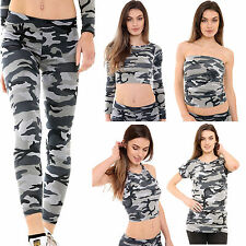New Women's Army Camouflage Print Legging Cami Crop Top Vest Tunic Top Size 8-22