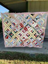 "Vintage Quilt, Hand Sewn, 65"" x 78"", Pattern on each side, Flour sacks"