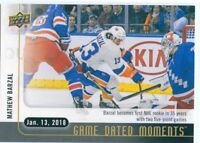17/18 UPPER DECK GAME DATED MOMENTS #36 MATHEW BARZAL ISLANDERS 5 POINTS *49517
