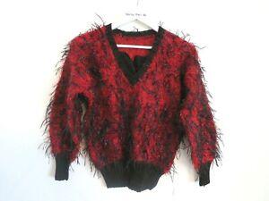Vintage Ugly Sweater Jumper UK 8/10 Red Black Fluffy Gothic Punk