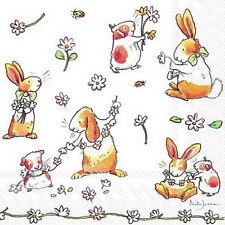 "Anita Jeram 20 Servietten""Daisy Chain""Frühling*Hase Hamster*Gänseblümchen*33x33"