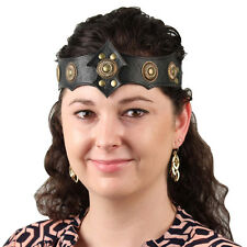 Medieval Warrior Queen Ornate Midnight Leather Viking Crown Headband Costume