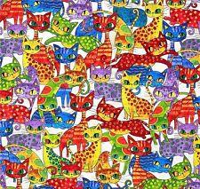 Cool Cats Katzen Patchworkstoff Stoffe Patchwork Tiermotive Baumwollstoffe Tiere