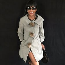 New Designer Pink Tartan Gray Fox fur trim vest cape jacket Coat XS-S 0-4