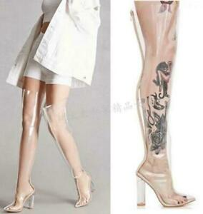 Women Transparent Pointy Toe Chunky High Heels Over Knee Thigh Boots Clubwear @