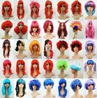 Pink Red Purple Blue Green Long Short Straight Curly Wavy Fancy Dress Party Wigs