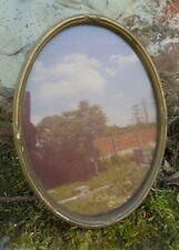 Ancien cadre vitré ovale à poser de style Louis XVI 25 cm par 18,8 cm
