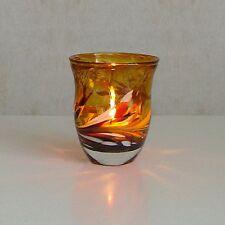 Windlicht Glas Dekoration Teelicht Gold mit buntem unikatem Motiv
