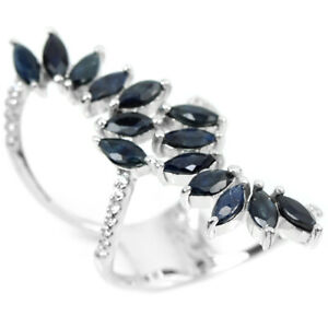GENUINE BLUE SAPPHIRE & WHITE CZ STERLING 925 SILVER CLUSTER RING SIZE 6.5