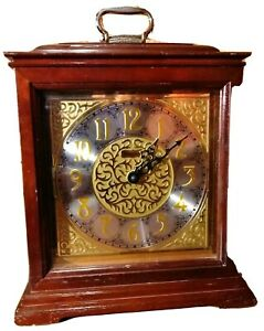 Black Forest Clock Brown Wood & Gold Acc Sound Germany Hermle Quartz Collectible