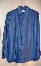 Dark Blue 100 % Silk Long Sleeve Blouse Bogari