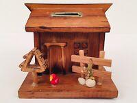 Vintage Handmade Wood Cabin Coin Bank