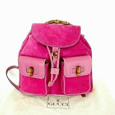 Authentic GUCCI Ultra Rare Bubble Gum Pink LARGE Bamboo Collectible Backpack Bag