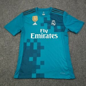 Adidas Climacool Mens Size Large Real Madrid Short Sleeves Blue Soccer Jersey