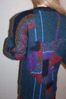 80er 80s Vintage Oversize Strick WESTE Cardigan Mantel MOHAIR Wolle KNIT COAT