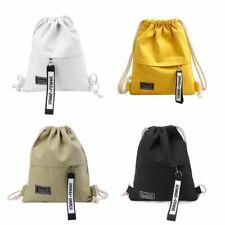 Cinch Sack Canvas Storage Drawstring Bag School Gym Pack Rucksack Backpack Pouch