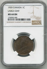 CANADA 1920 LARGE  ONE CENT NGC MS64 BN (HINTS OF RED)