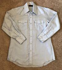 Tom Ferguson Karman Men's 16 33 L Blue Button Up Western Rodeo Dress Shirt Snaps