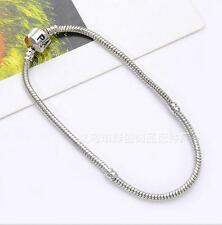 New Fashion Silver Snake Chain Bracelet Fit European Charm Beads19cm