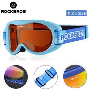 ROCKBROS Child One-layer Anti-fog Goggles Full Frame Ski Glasses&Sky Blue Band