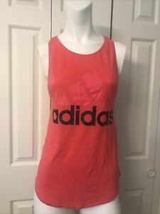 Adidas Women XS Muscle Tank Coral Red Racerback Excellent Condition