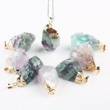 Natural Crystal Fluorite Stone Purple&Green Reiki Gemstone Gold Pendant Jewelry