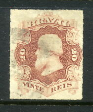 1876-1877 Brazil SC 62 Used, 20r Red Lilac, Rouletted, Emperor Dom Pedro II