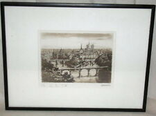 19th C. Ile de la Cite Engraving by Leauchi Pencil Signed Leauchi/Leauolu