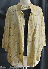 PECK & PECK Geo Gold Silk Light Cover Top open Jacket Top Blazer PLUS SIZE 16W