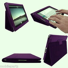 Purple Faux Leather Folio / Flip / Wallet Case with Stand for Apple iPad 2 3 & 4