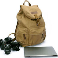 "Waterproof Canvas DSLR Camera Backpack 13"" Laptop Bag Rucksack Daypack Schoolbag"