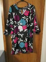 Attention Women's Black Floral Casual Shift Dress Size Large