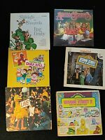 Lot of 6 Sesame Street and other kids Vinyl Records Children songs music Vintage