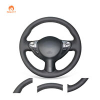 Black Leather Steering Wheel Cover for Infiniti FX35 FX37 Nissan Juke Sentra SV