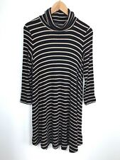 American Eagle Soft & Sexy Black & Beige Striped Ruched Neck Sweater Dress Large