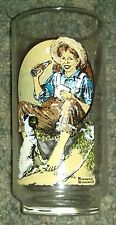 Coca Cola Norman Rockwell BOY with DOG Fishing on Riverbank Glass Tumbler