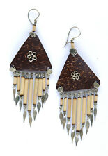 Ethnic Coconut Shell Triangles & Bamboo Drop Hook Earrings from Cuzco Peru