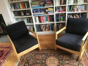 Ikea Lillberg rocking chairs, pair, beech with navy blue cotton cushion covers
