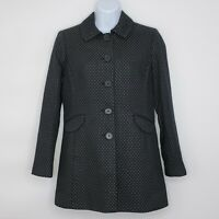 ANN TAYLOR Women's Jacket Petite Black Polka Dot Light LINEN BLEND Coat SMALL SP