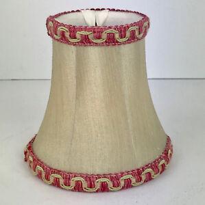 "SET 6 BEIGE FABRIC PINK BURGUNDY TRIM CHANDELIER LAMP SHADES 5.25"" TALL VINTAGE"