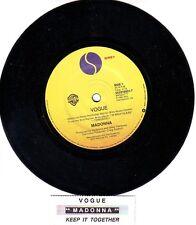 "MADONNA  Vogue  7"" 45 rpm vinyl record + juke box title strip"