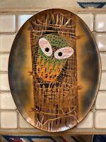 Vtg Signed Artist Miguel Pinada Enamel Owl Tree Plate Tray Wall Art  MCM Modern