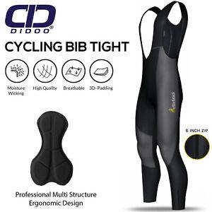 Didoo Mens Cycling Bib Tights Padded Thermal MTB Long Trouser Winter Biking Zip