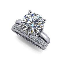3.04CT Diamond Engagement Ring White Gold Finish Size 5.5 Band Round Shape