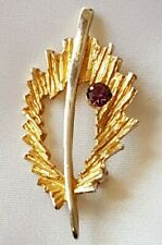 Brooch ~ Abstract Leaf Design ~ Amethyst Stone & Gold Tone ~ Signed Hollywood