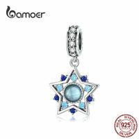 BAMOER Women DIY CZ Charms S925 Sterling Silver Blue Star Fit Bracelets Jewelry