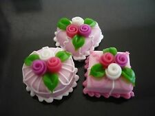 3  Mini Pink Cake Rose Top Dollhouse Miniatures Food Deco Valentine Day